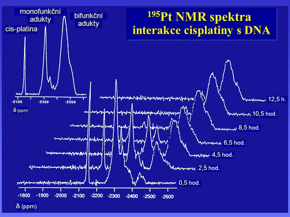 cis-platina bifunkční monofunkční adukty adukty  (ppm) 0,5 0,5 hod. 2,5 2,5 hod. 4,5 4,5 hod. 6,5 6,5 hod. 8,5 8,5 hod. 10,5 10,5 hod. 12,5 12,5 h. i