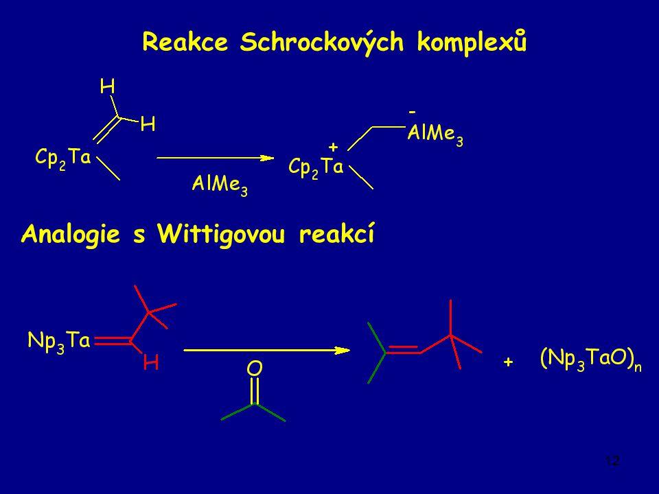 12 Reakce Schrockových komplexů Analogie s Wittigovou reakcí