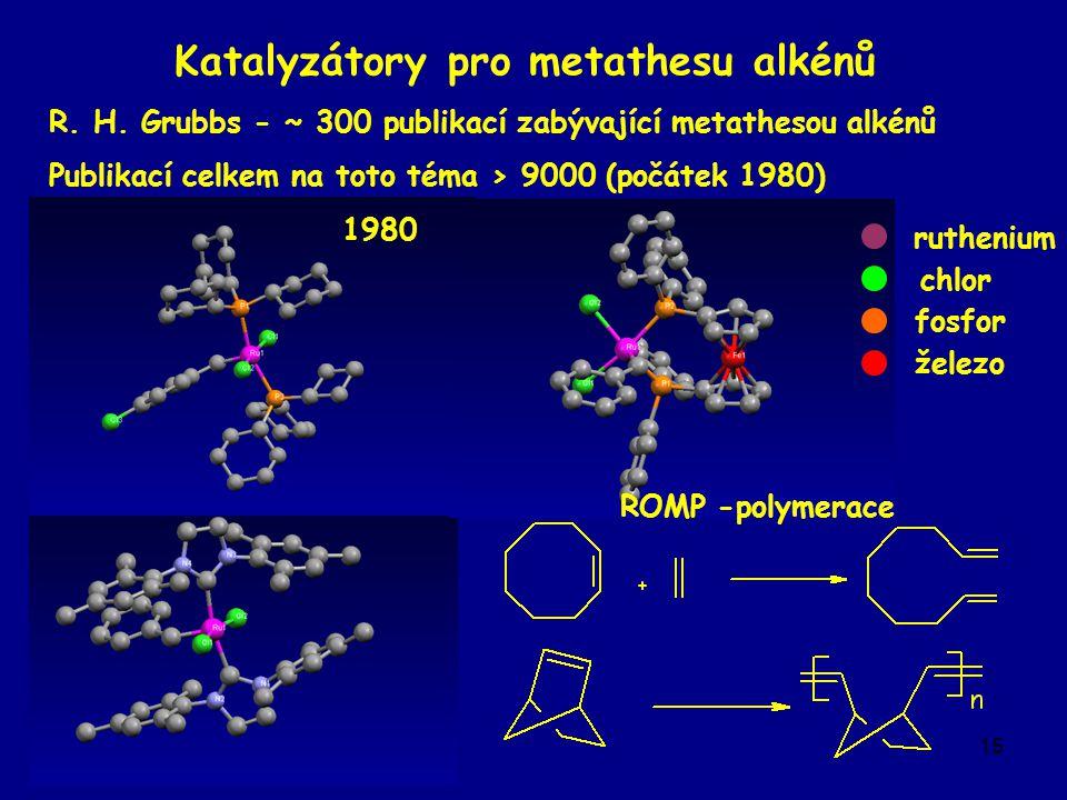 15 Katalyzátory pro metathesu alkénů R. H.