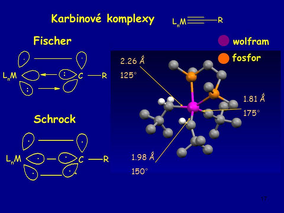 17 Karbinové komplexy Fischer Schrock 2.26 Ǻ 125° 1.98 Ǻ 150° 1.81 Ǻ 175° wolfram fosfor