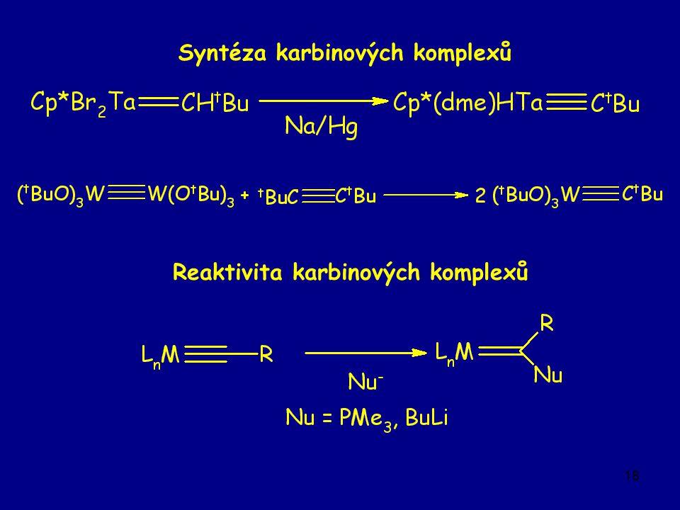 18 Reaktivita karbinových komplexů Syntéza karbinových komplexů