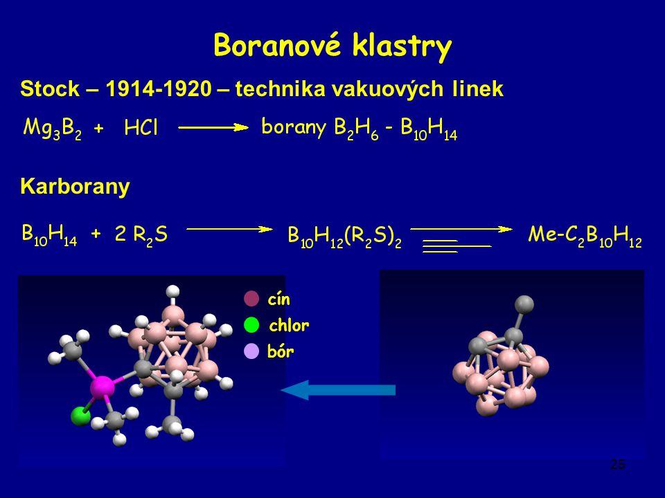 25 Boranové klastry Stock – 1914-1920 – technika vakuových linek Karborany cín chlor bór