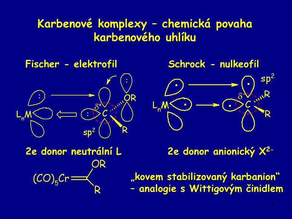 """4 Karbenové komplexy – chemická povaha karbenového uhlíku Schrock - nulkeofil 2e donor anionický X 2- """"kovem stabilizovaný karbanion – analogie s Wittigovým činidlem Fischer - elektrofil 2e donor neutrální L"""