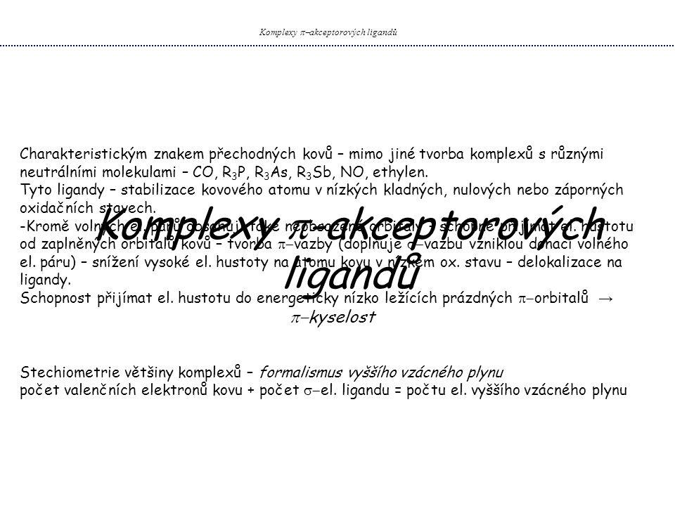 Komplexy  akceptorových ligandů Komplexy s ostatními  -akceptorovými ligandy Komplexy NO NO – podobnost s CO, elektron umístěn v   - MO → snadná ztráta el.