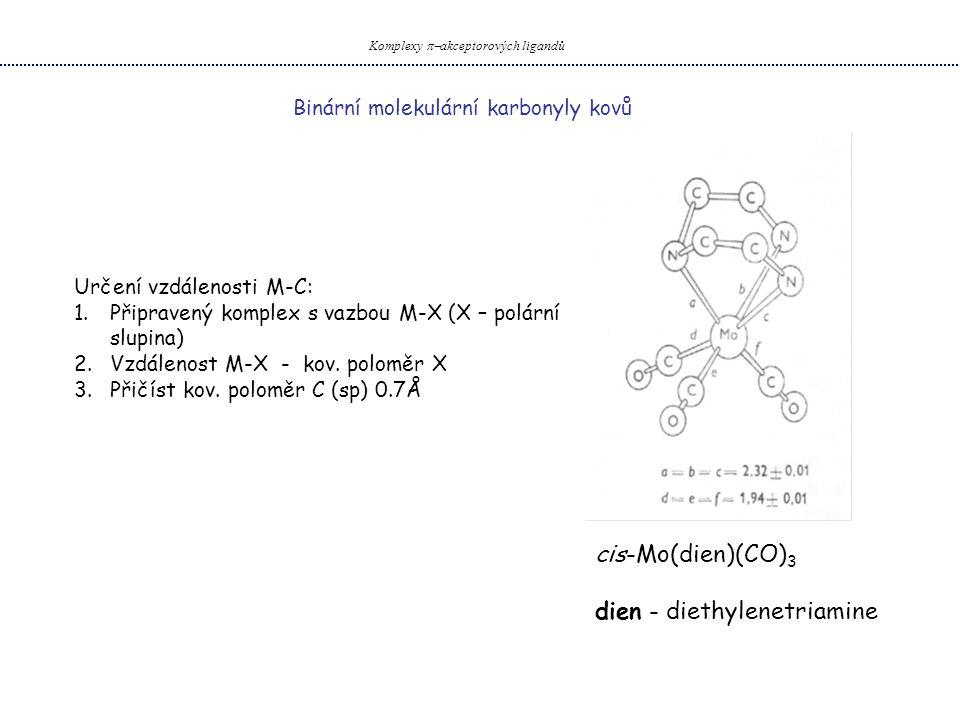 Binární molekulární karbonyly kovů Komplexy  akceptorových ligandů Určení vzdálenosti M-C: 1.Připravený komplex s vazbou M-X (X – polární slupina) 2.Vzdálenost M-X - kov.