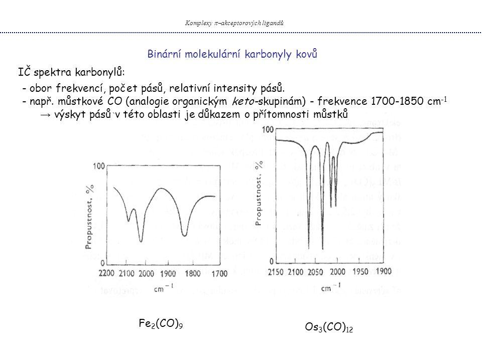 Binární molekulární karbonyly kovů Komplexy  akceptorových ligandů IČ spektra karbonylů: - obor frekvencí, počet pásů, relativní intensity pásů. - n