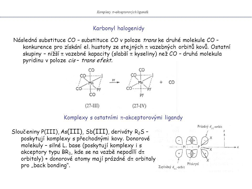 Karbonyl halogenidy Komplexy  akceptorových ligandů Následná substituce CO – substituce CO v poloze trans ke druhé molekule CO – konkurence pro získání el.