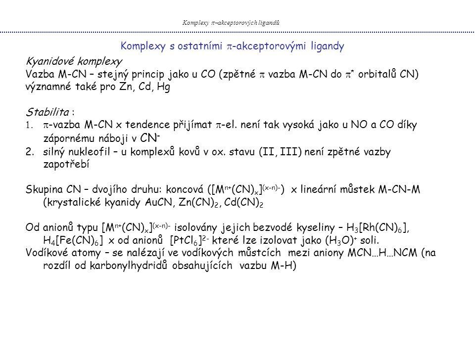 Komplexy  akceptorových ligandů Komplexy s ostatními  -akceptorovými ligandy Kyanidové komplexy Vazba M-CN – stejný princip jako u CO (zpětné  vazba M-CN do  * orbitalů CN) významné také pro Zn, Cd, Hg Stabilita :  -vazba M-CN x tendence přijímat  -el.