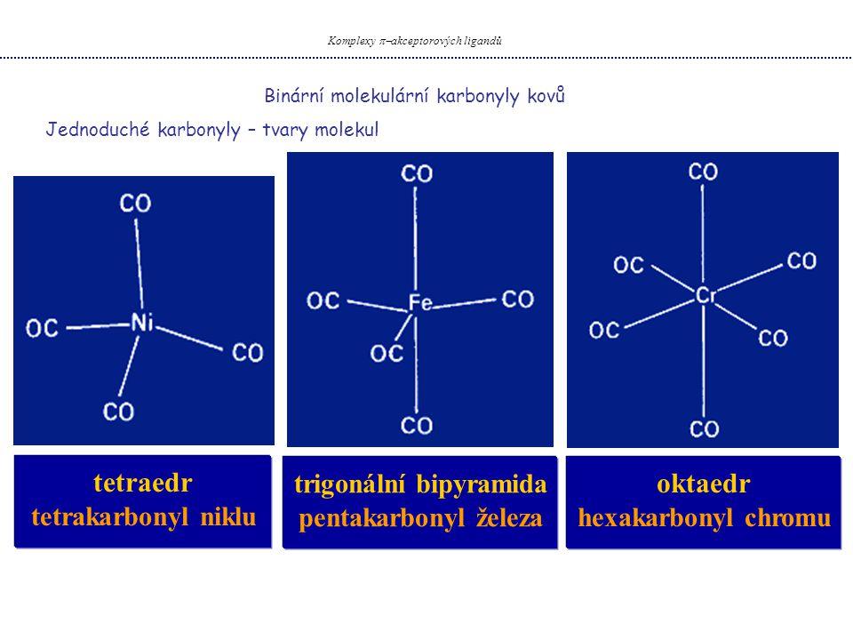 Binární molekulární karbonyly kovů Komplexy  akceptorových ligandů Jednoduché karbonyly – tvary molekul tetraedr tetrakarbonyl niklu trigonální bipy