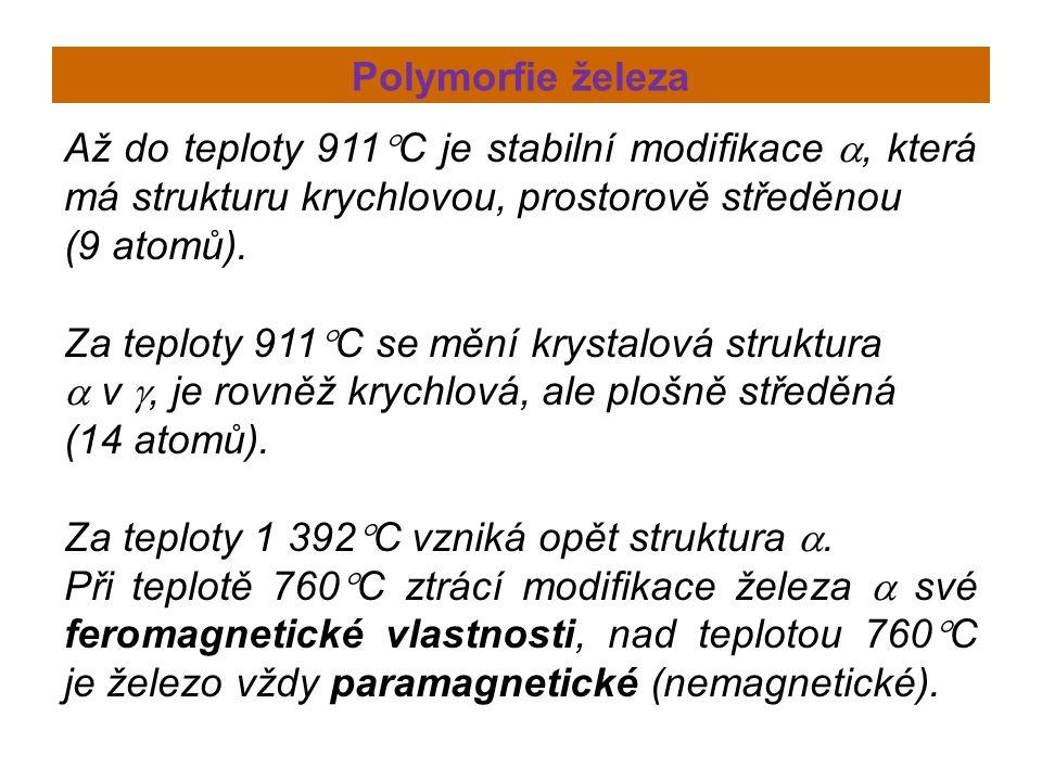 Polymorfie železa Až do teploty 911  C je stabilní modifikace , která má strukturu krychlovou, prostorově středěnou (9 atomů). Za teploty 911  C se