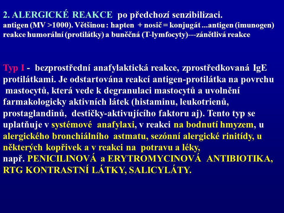 2. ALERGICKÉ REAKCE po předchozí senzibilizaci. antigen (MV >1000). Většinou : hapten + nosič = konjugát...antigen (imunogen) reakce humorální (protil