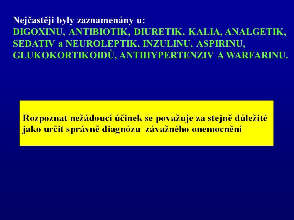 Nejčastěji byly zaznamenány u: DIGOXINU, ANTIBIOTIK, DIURETIK, KALIA, ANALGETIK, SEDATIV a NEUROLEPTIK, INZULINU, ASPIRINU, GLUKOKORTIKOIDŮ, ANTIHYPER