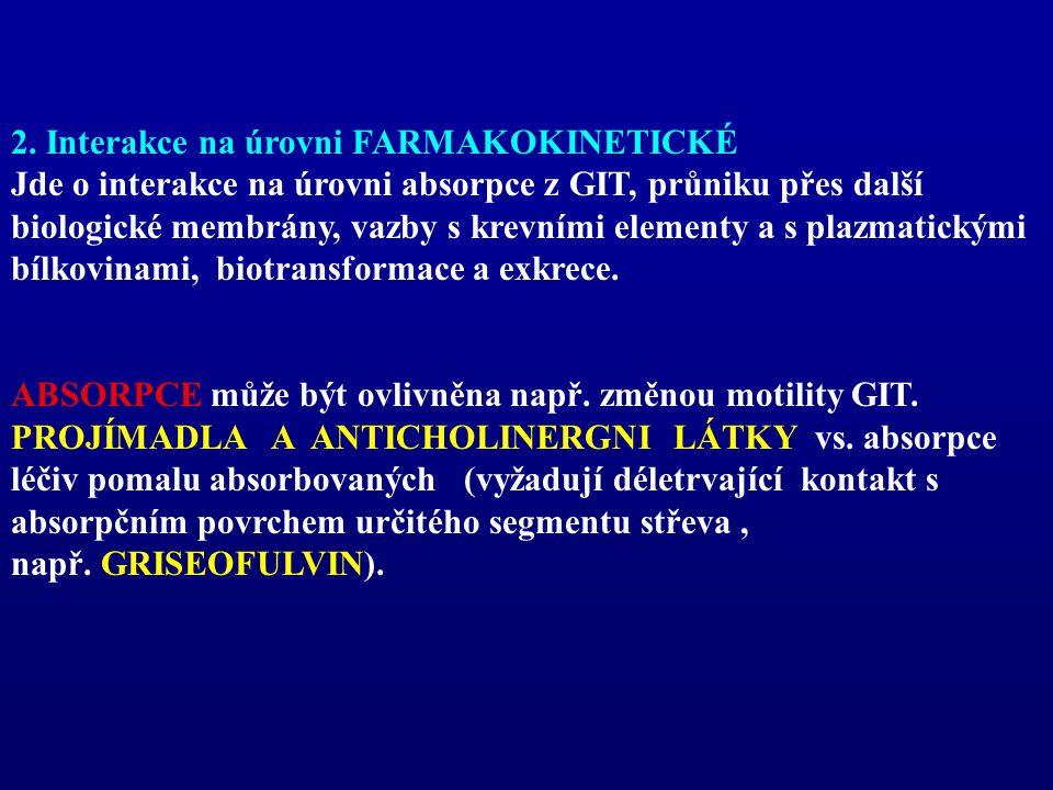 2. Interakce na úrovni FARMAKOKINETICKÉ Jde o interakce na úrovni absorpce z GIT, průniku přes další biologické membrány, vazby s krevními elementy a