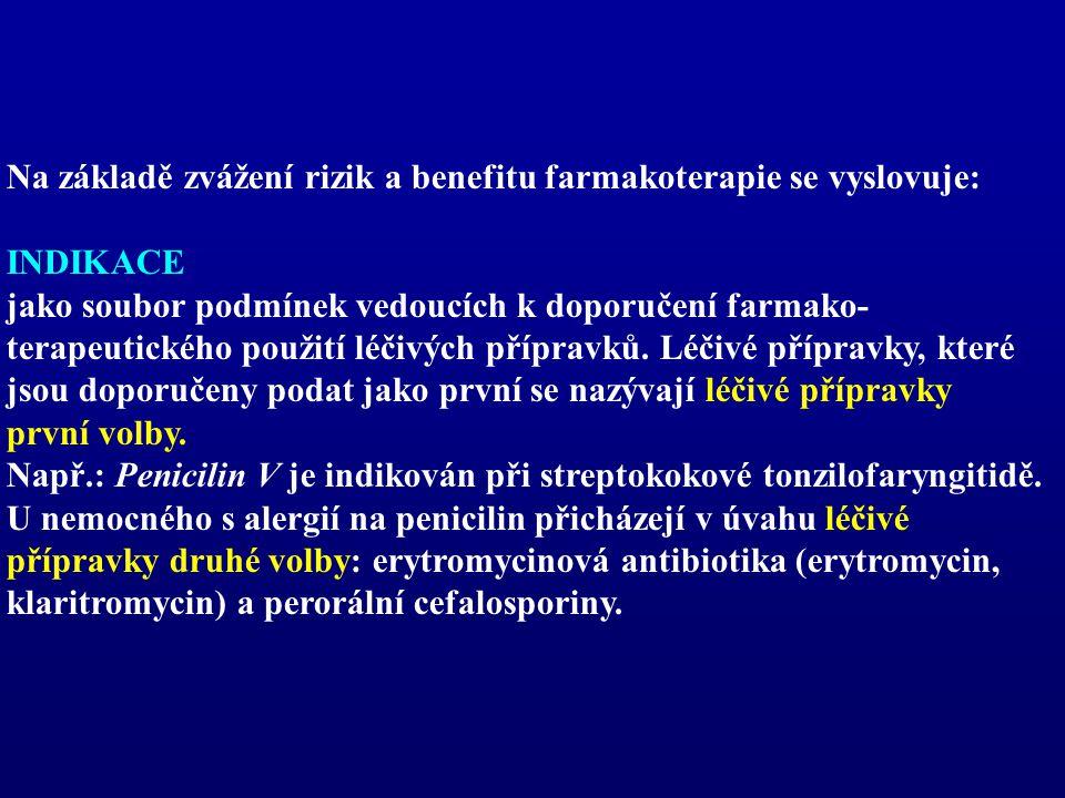 Na základě zvážení rizik a benefitu farmakoterapie se vyslovuje: INDIKACE jako soubor podmínek vedoucích k doporučení farmako- terapeutického použití