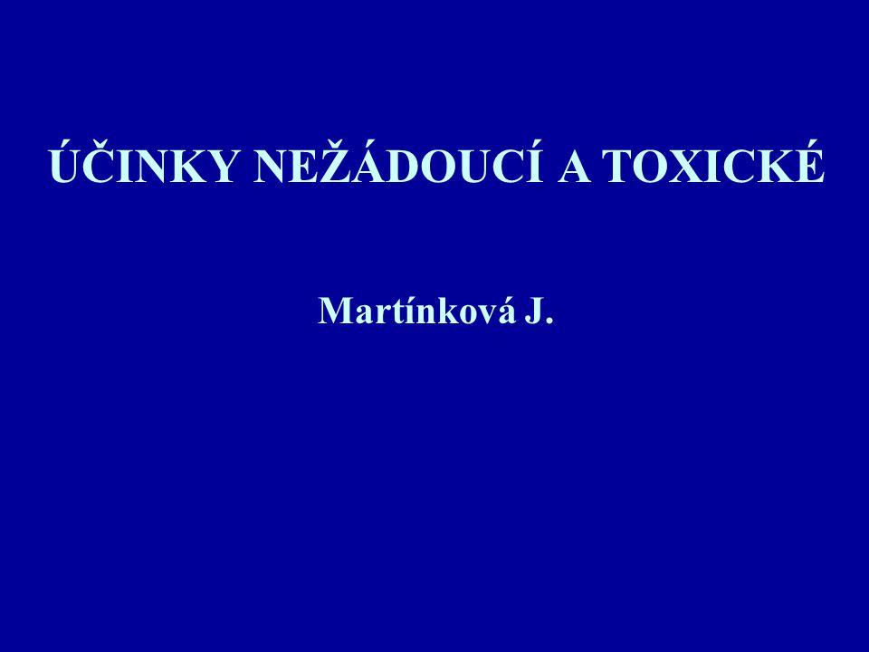 ÚČINKY NEŽÁDOUCÍ A TOXICKÉ Martínková J.