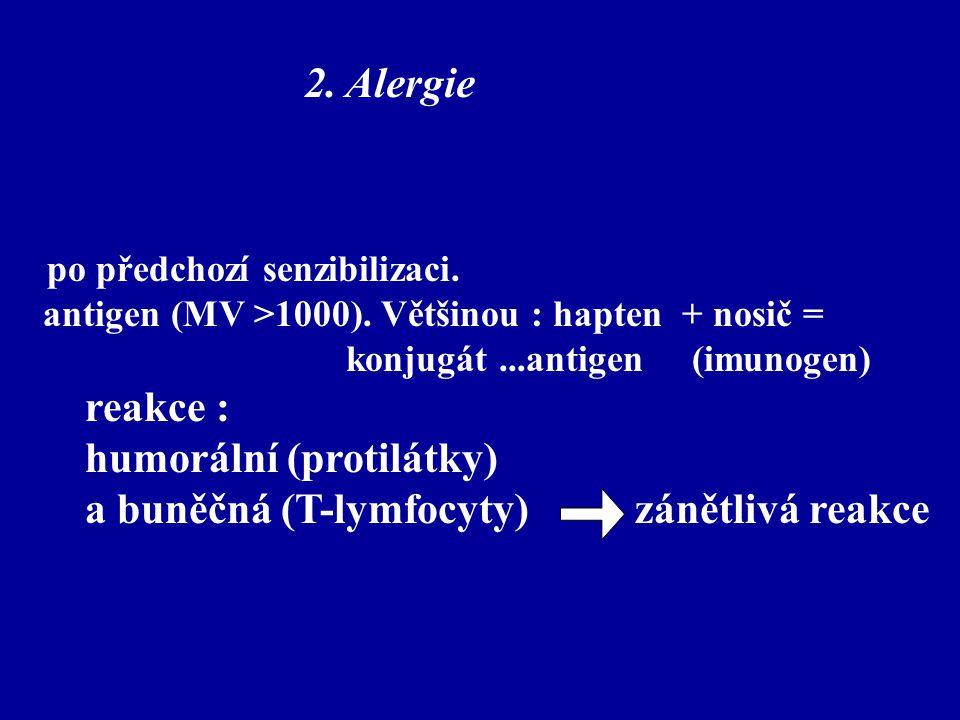 2. Alergie po předchozí senzibilizaci. antigen (MV >1000). Většinou : hapten + nosič = konjugát...antigen (imunogen) reakce : humorální (protilátky) a