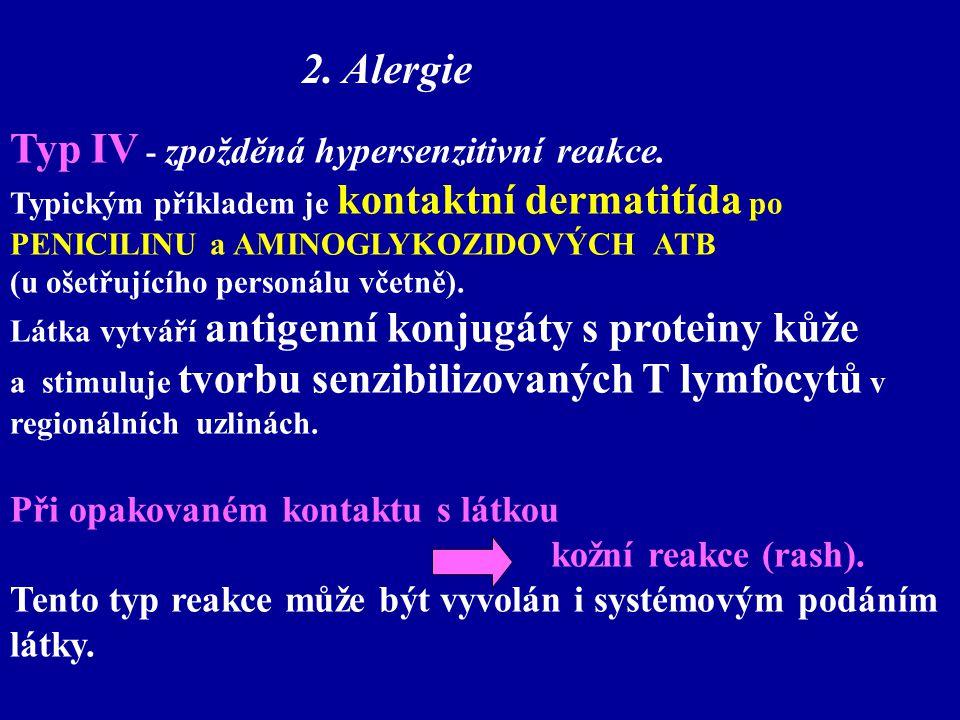 Typ IV - zpožděná hypersenzitivní reakce. Typickým příkladem je kontaktní dermatitída po PENICILINU a AMINOGLYKOZIDOVÝCH ATB (u ošetřujícího personálu