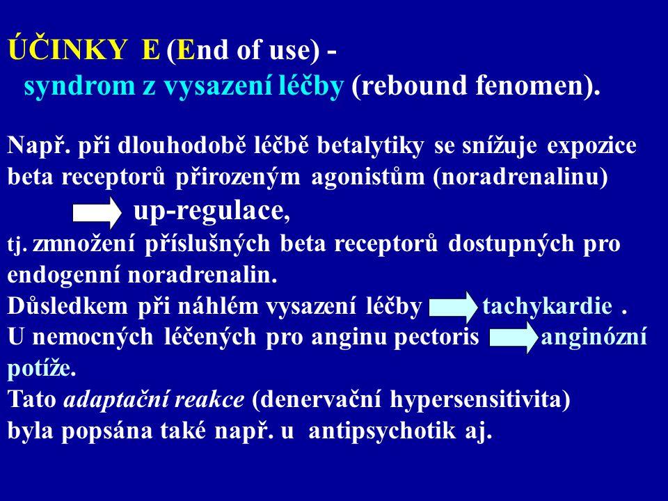 ÚČINKY E (End of use) - syndrom z vysazení léčby (rebound fenomen). Např. při dlouhodobě léčbě betalytiky se snížuje expozice beta receptorů přirozený
