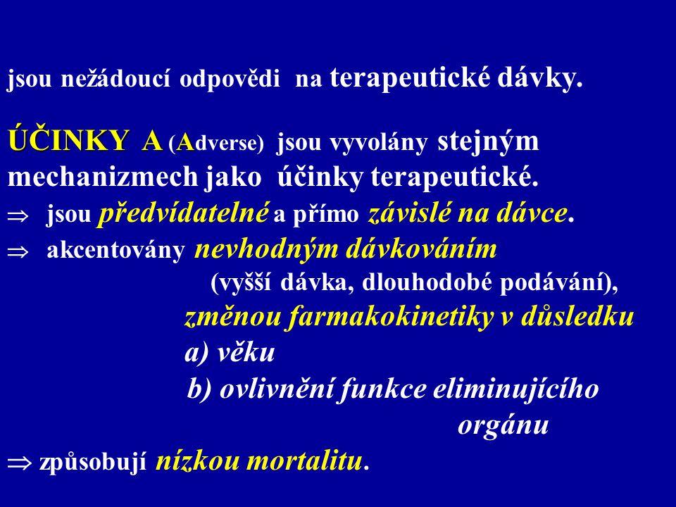 PŘÍKLADY ZNÁMÝCH TOXICKÝCH ÚČINKU: nefrotoxicita a) vliv věku - aminoglykozidy u - aminoglykozidy u novorozenců (nedonošených) v prvním týdnu novorozenců (nedonošených) v prvním týdnu postnatálního života postnatálního života