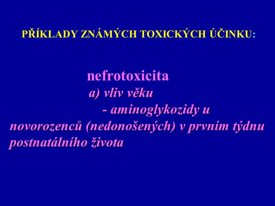 PŘÍKLADY ZNÁMÝCH TOXICKÝCH ÚČINKU: nefrotoxicita a) vliv věku - aminoglykozidy u - aminoglykozidy u novorozenců (nedonošených) v prvním týdnu novoroze