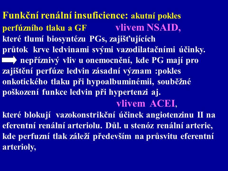 Funkční renální insuficience: akutní pokles perfúzního tlaku a GF vlivem NSAID, které tlumí biosyntézu PGs, zajišťujících průtok krve ledvinami svými
