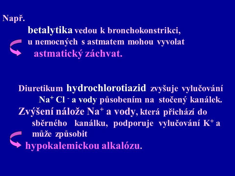 Např. betalytika vedou k bronchokonstrikci, u nemocných s astmatem mohou vyvolat astmatický záchvat. Diuretikum hydrochlorotiazid zvyšuje vylučování N
