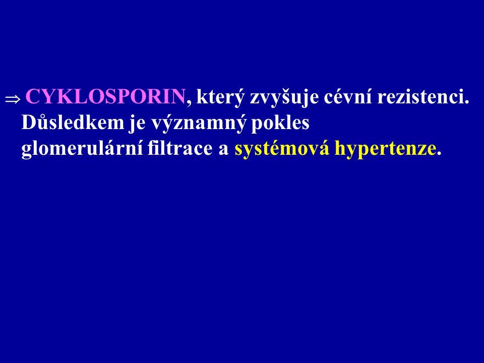  CYKLOSPORIN, který zvyšuje cévní rezistenci. Důsledkem je významný pokles glomerulární filtrace a systémová hypertenze.