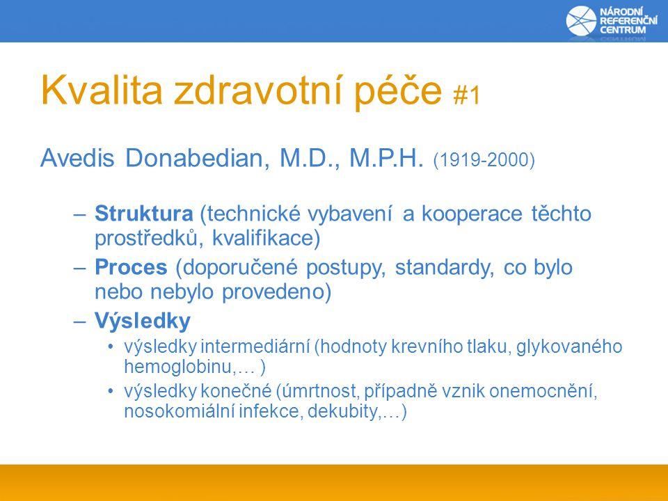 Kvalita zdravotní péče #1 Avedis Donabedian, M.D., M.P.H. (1919-2000) –Struktura (technické vybavení a kooperace těchto prostředků, kvalifikace) –Proc