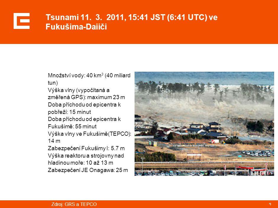 9 Tsunami 11. 3. 2011, 15:41 JST (6:41 UTC) ve Fukušima-Daiiči Množství vody: 40 km 3 (40 miliard tun) Výška vlny (vypočítaná a změřená GPS): maximum