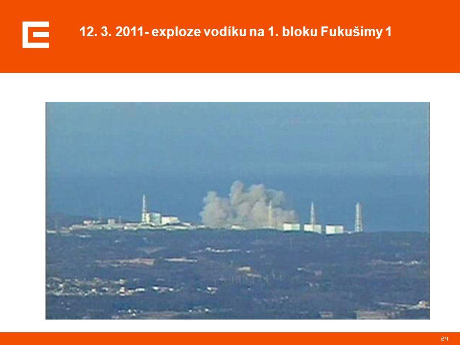 24 12. 3. 2011- exploze vodíku na 1. bloku Fukušimy 1