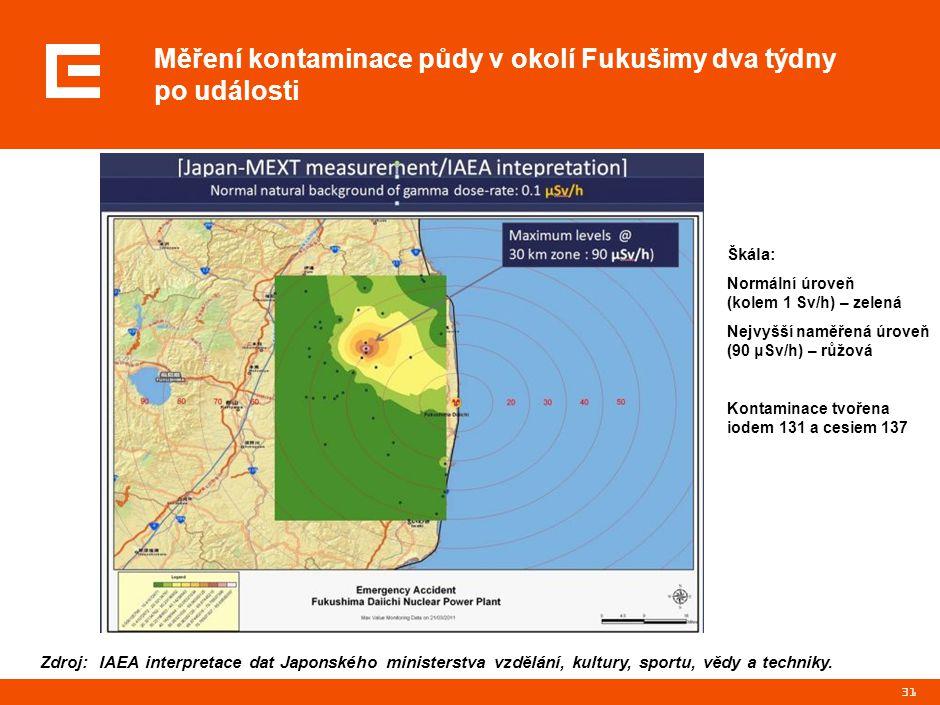 31 Měření kontaminace půdy v okolí Fukušimy dva týdny po události Zdroj: IAEA interpretace dat Japonského ministerstva vzdělání, kultury, sportu, vědy
