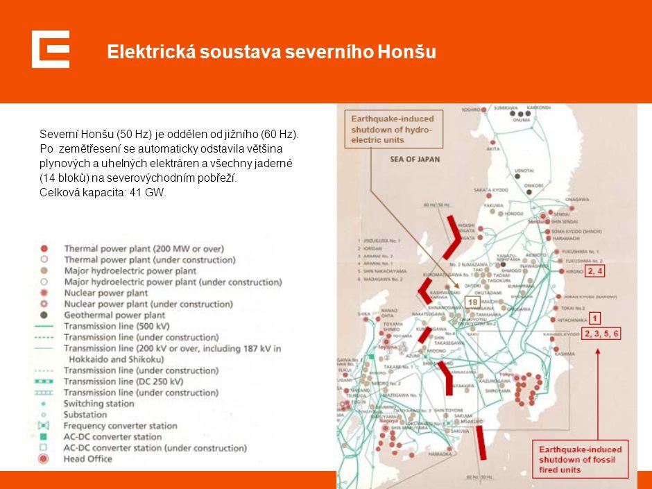 3 Elektrická soustava severního Honšu Severní Honšu (50 Hz) je oddělen od jižního (60 Hz). Po zemětřesení se automaticky odstavila většina plynových a