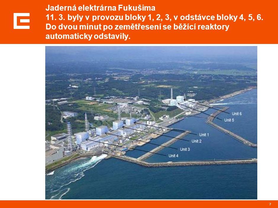 7 Jaderná elektrárna Fukušima 11. 3. byly v provozu bloky 1, 2, 3, v odstávce bloky 4, 5, 6. Do dvou minut po zemětřesení se běžící reaktory automatic
