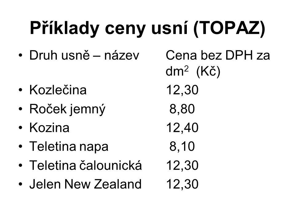 Příklady ceny usní (TOPAZ) Druh usně – názevCena bez DPH za dm 2 (Kč) Kozlečina 12,30 Roček jemný 8,80 Kozina 12,40 Teletina napa 8,10 Teletina čaloun
