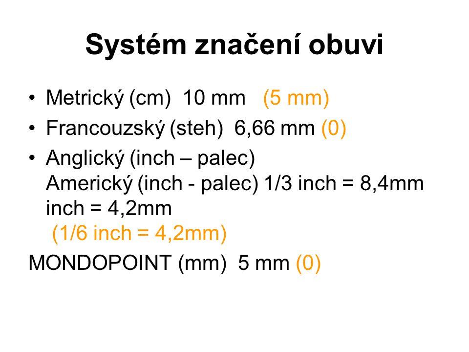 Systém značení obuvi Metrický (cm) 10 mm(5 mm) Francouzský (steh) 6,66 mm (0) Anglický (inch – palec) Americký (inch - palec) 1/3 inch = 8,4mm inch =