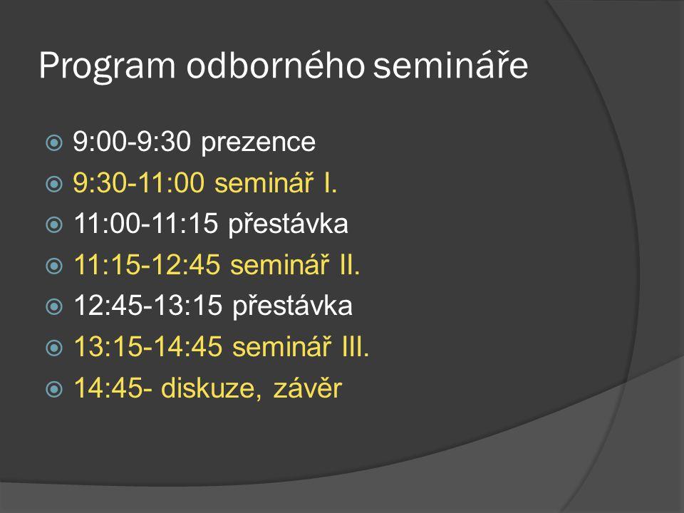 Program odborného semináře  9:00-9:30 prezence  9:30-11:00 seminář I.  11:00-11:15 přestávka  11:15-12:45 seminář II.  12:45-13:15 přestávka  13