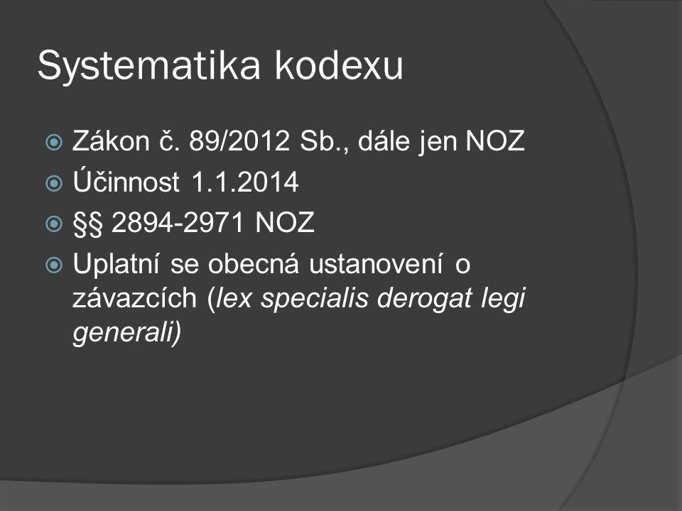 Systematika kodexu  Zákon č. 89/2012 Sb., dále jen NOZ  Účinnost 1.1.2014  §§ 2894-2971 NOZ  Uplatní se obecná ustanovení o závazcích (lex special