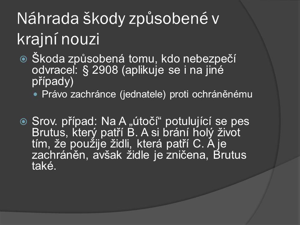 Náhrada škody způsobené v krajní nouzi  Škoda způsobená tomu, kdo nebezpečí odvracel: § 2908 (aplikuje se i na jiné případy) Právo zachránce (jednatele) proti ochráněnému  Srov.