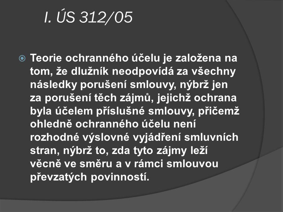 I. ÚS 312/05  Teorie ochranného účelu je založena na tom, že dlužník neodpovídá za všechny následky porušení smlouvy, nýbrž jen za porušení těch zájm