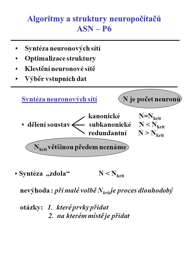 """Algoritmy a struktury neuropočítačů ASN – P6 Syntéza neuronových sítí Optimalizace struktury Klestění neuronové sítě Výběr vstupních dat Syntéza """"zdola N < N krit nevýhoda : při malé volbě N krit je proces dlouhodobý otázky: 1."""