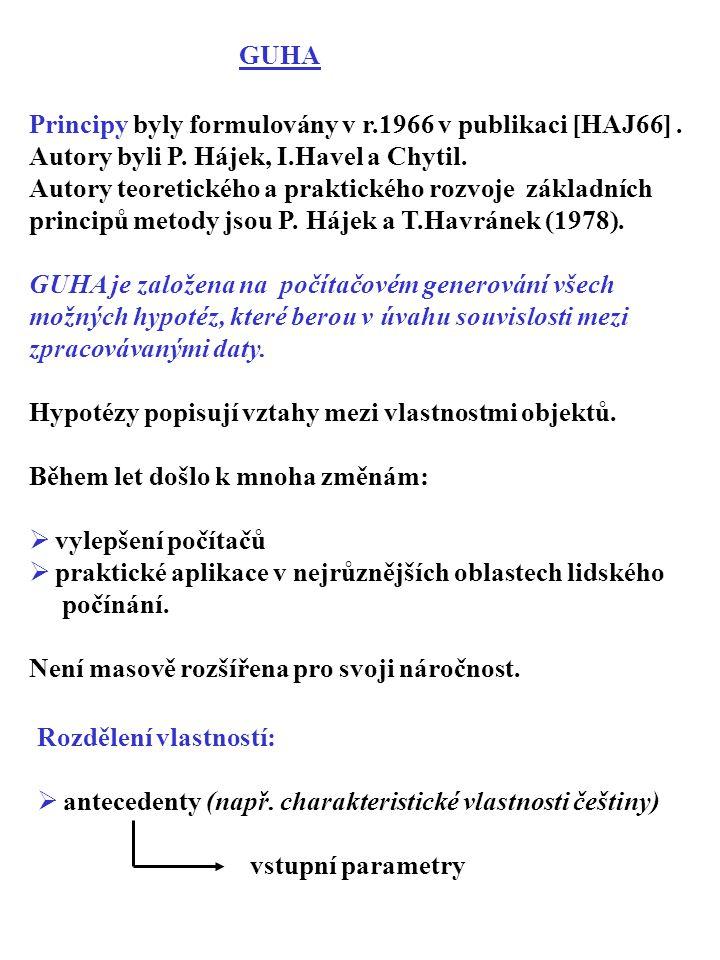 Principy byly formulovány v r.1966 v publikaci [HAJ66]. Autory byli P. Hájek, I.Havel a Chytil. Autory teoretického a praktického rozvoje základních p