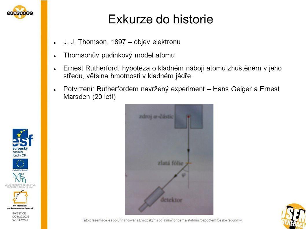 Exkurze do historie J. J. Thomson, 1897 – objev elektronu Thomsonův pudinkový model atomu Ernest Rutherford: hypotéza o kladném náboji atomu zhuštěném