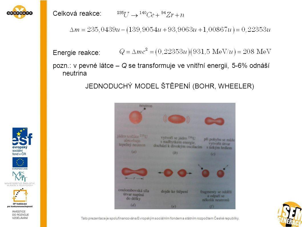 Celková reakce: Energie reakce: pozn.: v pevné látce – Q se transformuje ve vnitřní energii, 5-6% odnáší neutrina JEDNODUCHÝ MODEL ŠTĚPENÍ (BOHR, WHEE