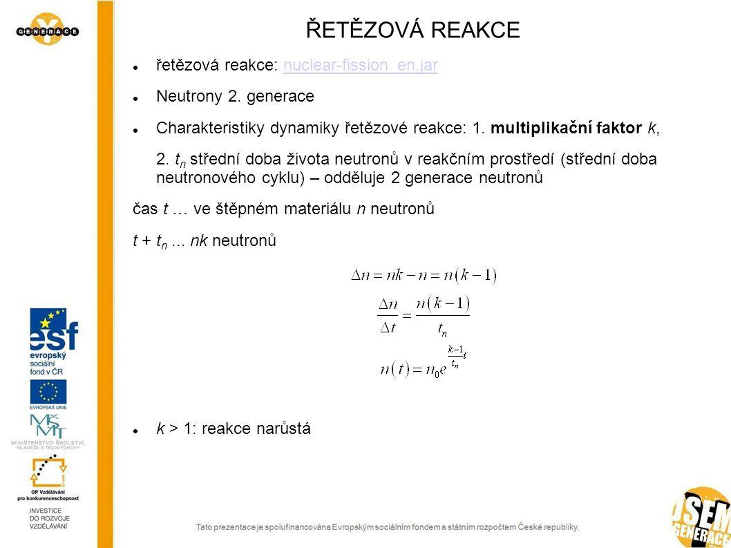 ŘETĚZOVÁ REAKCE řetězová reakce: nuclear-fission_en.jarnuclear-fission_en.jar Neutrony 2. generace Charakteristiky dynamiky řetězové reakce: 1. multip