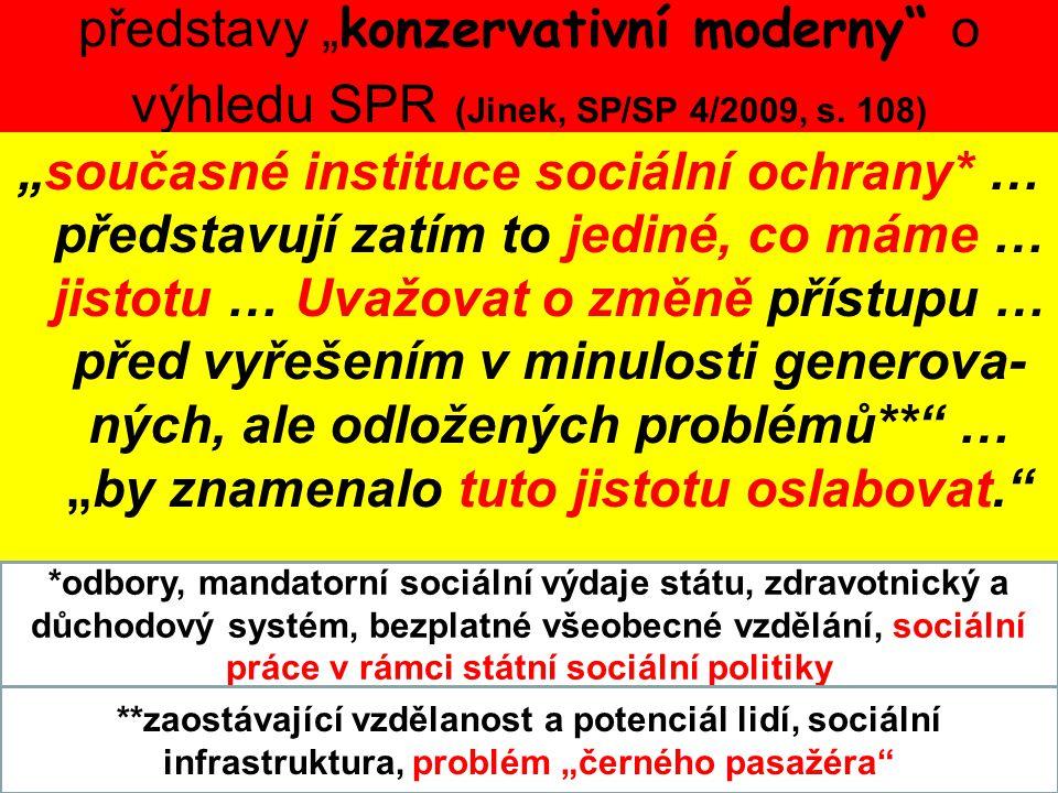 """představy """" konzervativní moderny"""" o výhledu SPR (Jinek, SP/SP 4/2009, s. 108) """"současné instituce sociální ochrany* … představují zatím to jediné, co"""