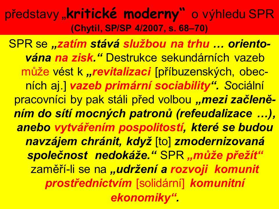 """představy """" kritické moderny"""" o výhledu SPR (Chytil, SP/SP 4/2007, s. 68–70) SPR se """"zatím stává službou na trhu … oriento- vána na zisk."""" Destrukce s"""