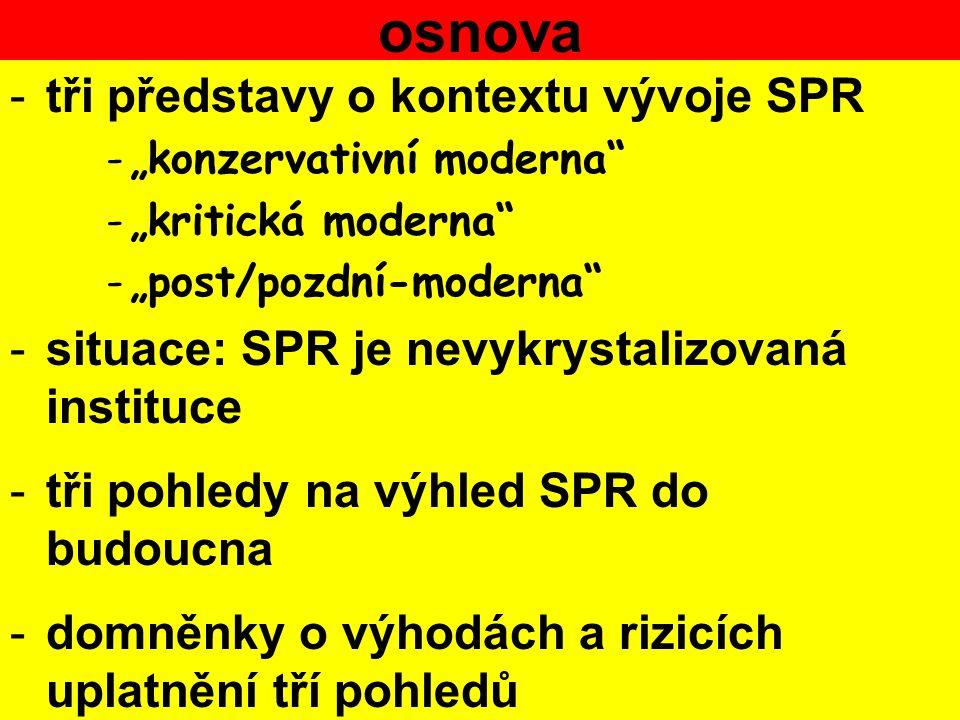 """osnova -tři představy o kontextu vývoje SPR -""""konzervativní moderna -""""kritická moderna -""""post/pozdní-moderna -situace: SPR je nevykrystalizovaná instituce -tři pohledy na výhled SPR do budoucna -domněnky o výhodách a rizicích uplatnění tří pohledů"""