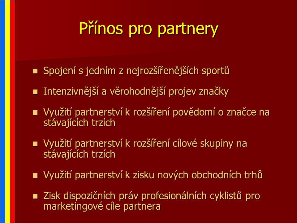 Přínos pro partnery Spojení s jedním z nejrozšířenějších sportů Spojení s jedním z nejrozšířenějších sportů Intenzivnější a věrohodnější projev značky Intenzivnější a věrohodnější projev značky Využití partnerství k rozšíření povědomí o značce na stávajících trzích Využití partnerství k rozšíření povědomí o značce na stávajících trzích Využití partnerství k rozšíření cílové skupiny na stávajících trzích Využití partnerství k rozšíření cílové skupiny na stávajících trzích Využití partnerství k zisku nových obchodních trhů Využití partnerství k zisku nových obchodních trhů Zisk dispozičních práv profesionálních cyklistů pro marketingové cíle partnera Zisk dispozičních práv profesionálních cyklistů pro marketingové cíle partnera