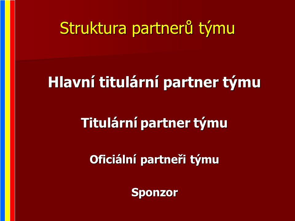 Struktura partnerů týmu Hlavní titulární partner týmu Titulární partner týmu Oficiální partneři týmu Sponzor