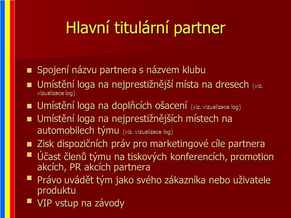 Hlavní titulární partner Spojení názvu partnera s názvem klubu Spojení názvu partnera s názvem klubu Umístění loga na nejprestižnější místa na dresech (viz.